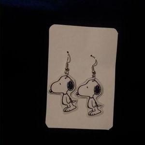 Handmade Laminate Cartoon Earrings Snoopy